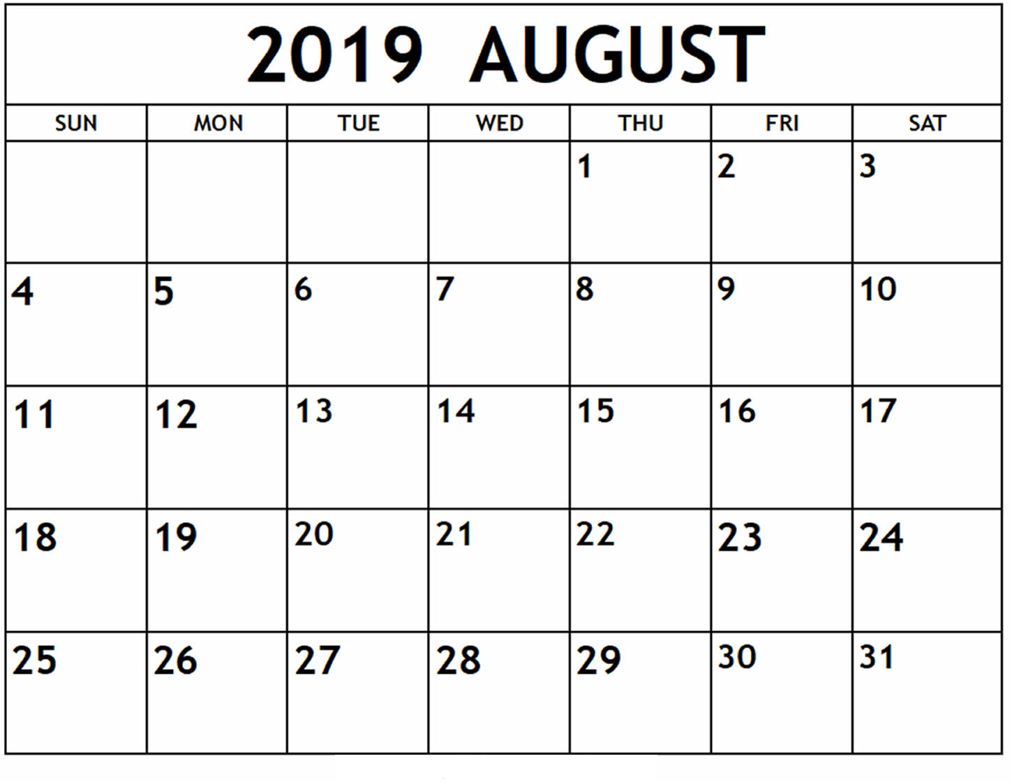 graphic regarding Printable Calendar Template called August 2019 Printable Calendar Template 12 Thirty day period Printable