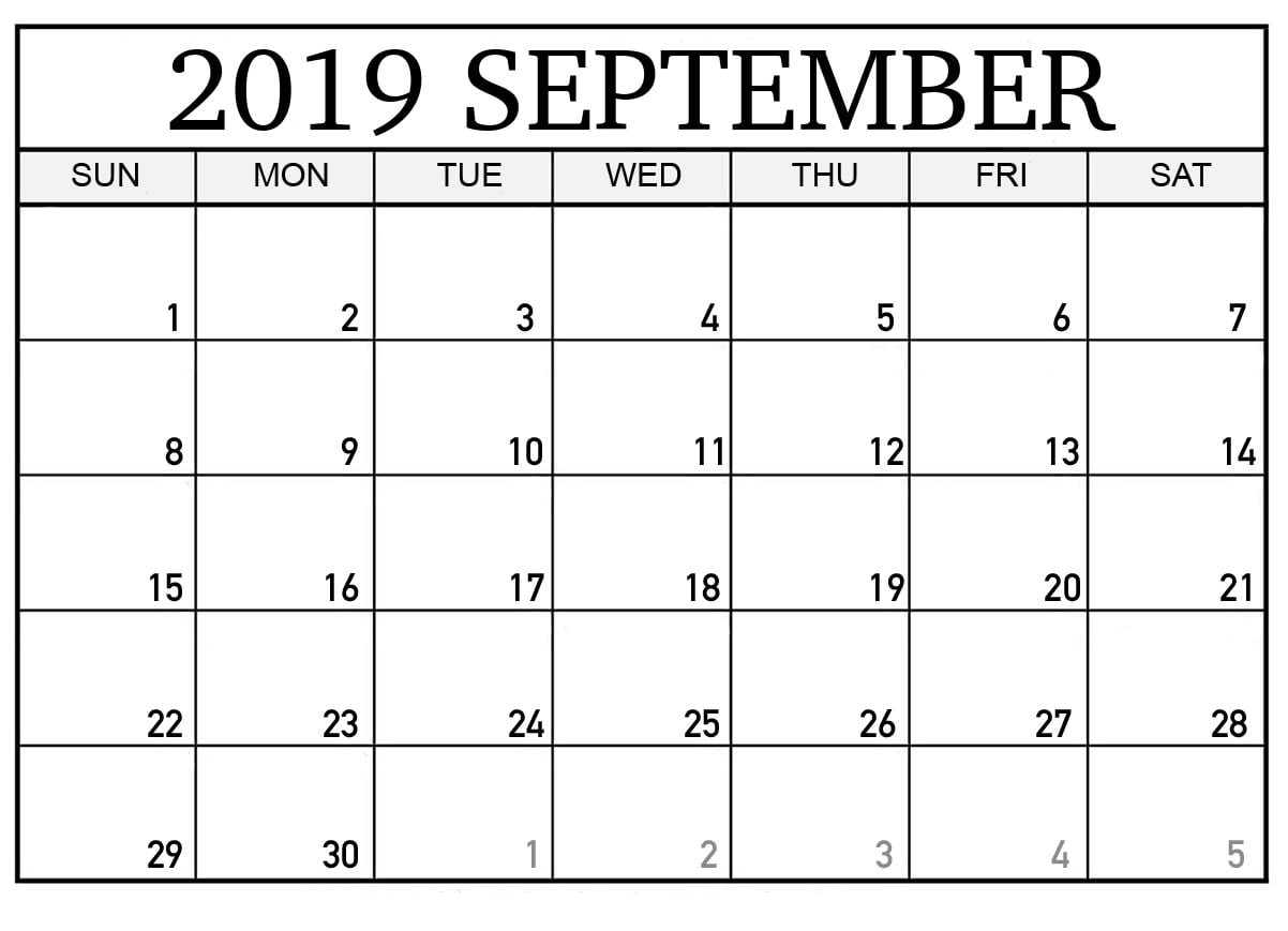 picture regarding September Printable Calendar named Blank September 2019 Calendar Printable 12 Thirty day period Printable