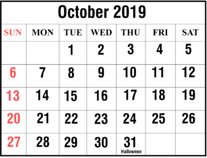 October 2019 Calendar With Holiday