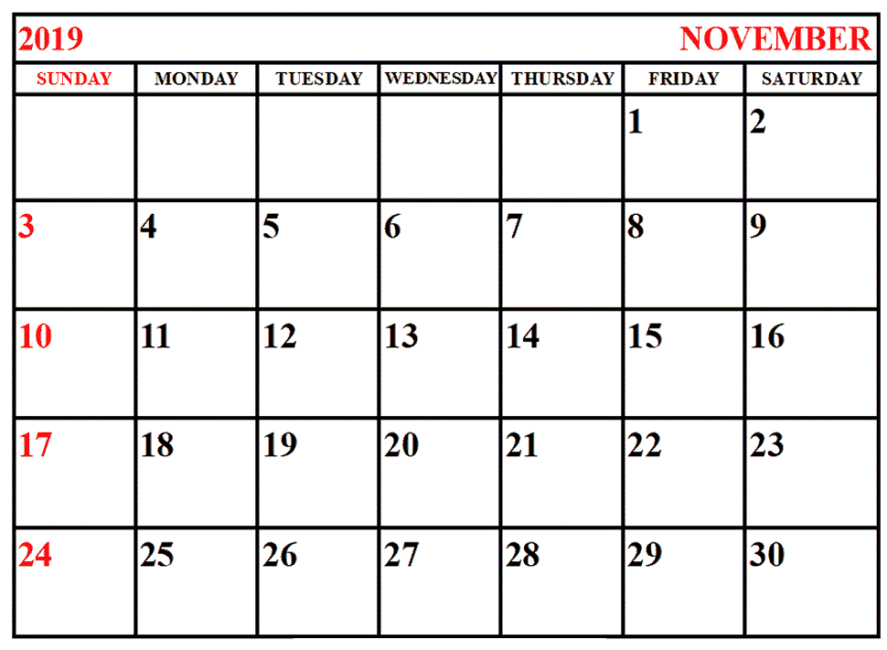 November 2019 Calendar Template with Holidays