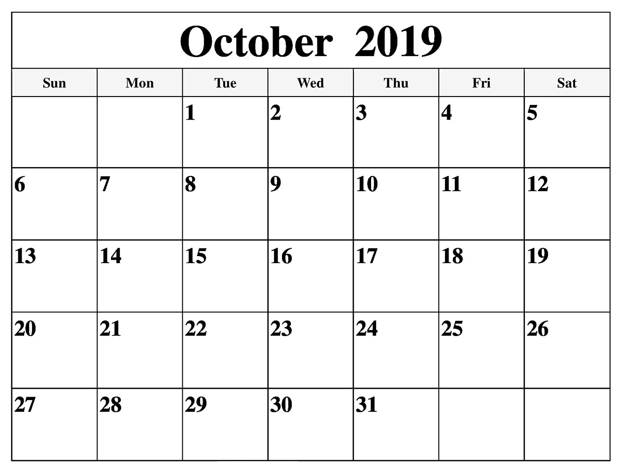 October 2019 Family Template Calendar Printable