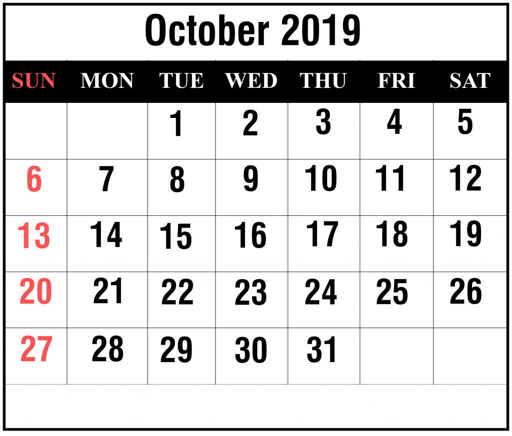 October 2019 Download Printable Calendar