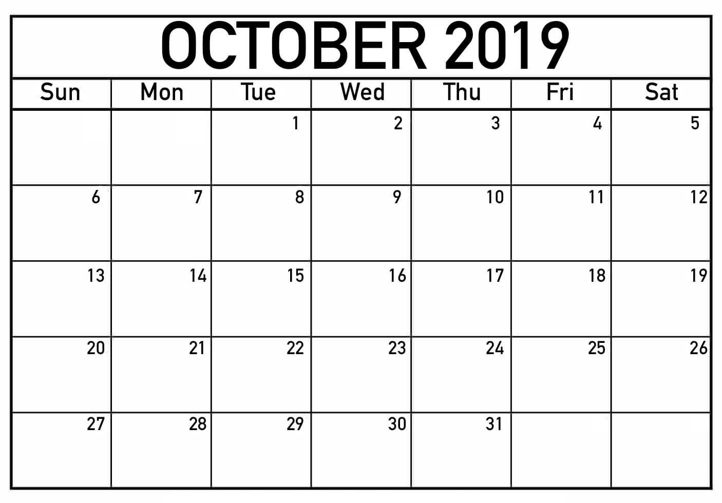 Printable October 2019 Calendar Download