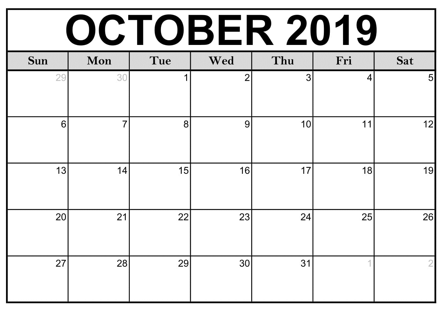 Printable October 2019 Calendar Landscape