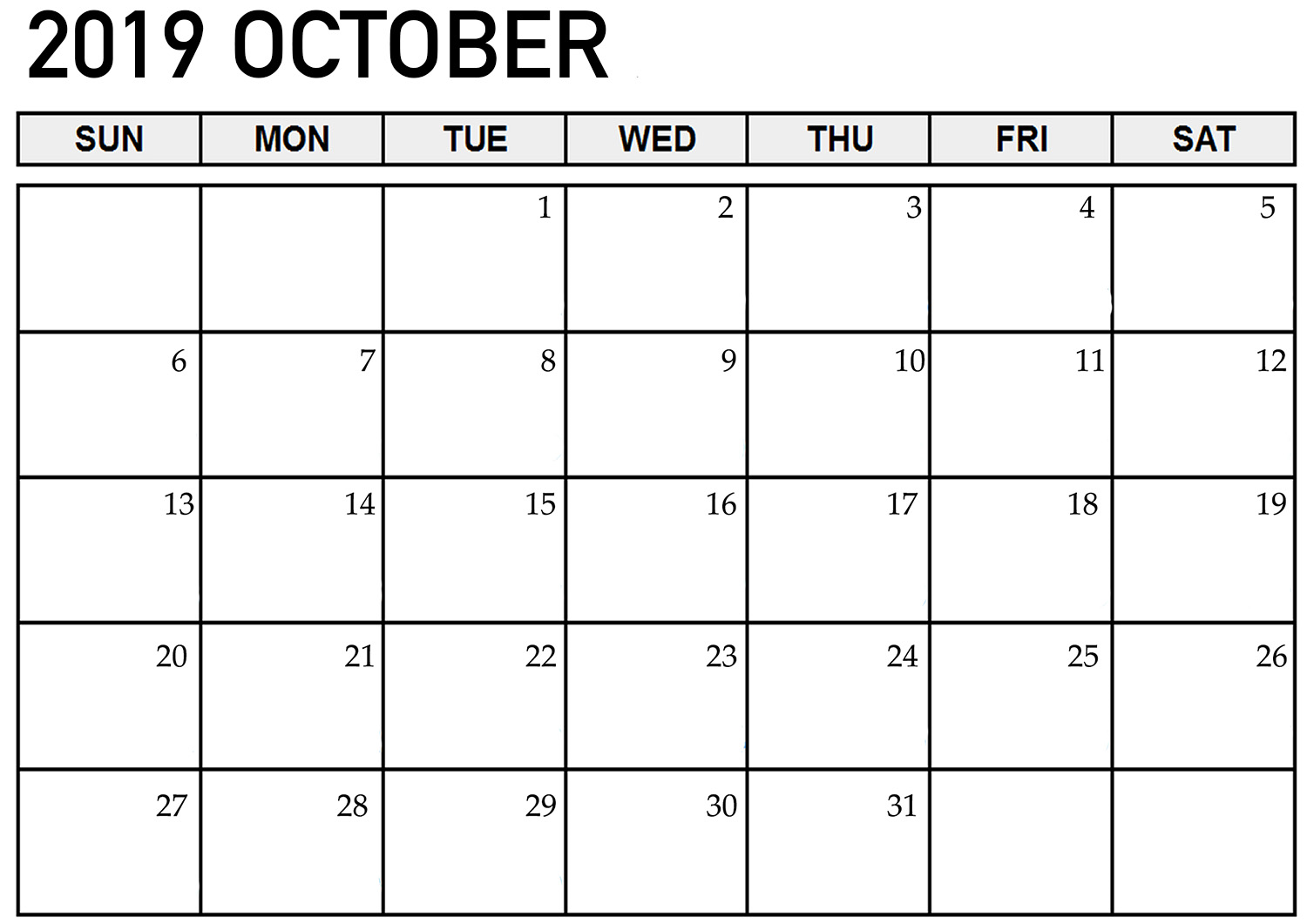 Printable October 2019 Template Calendar