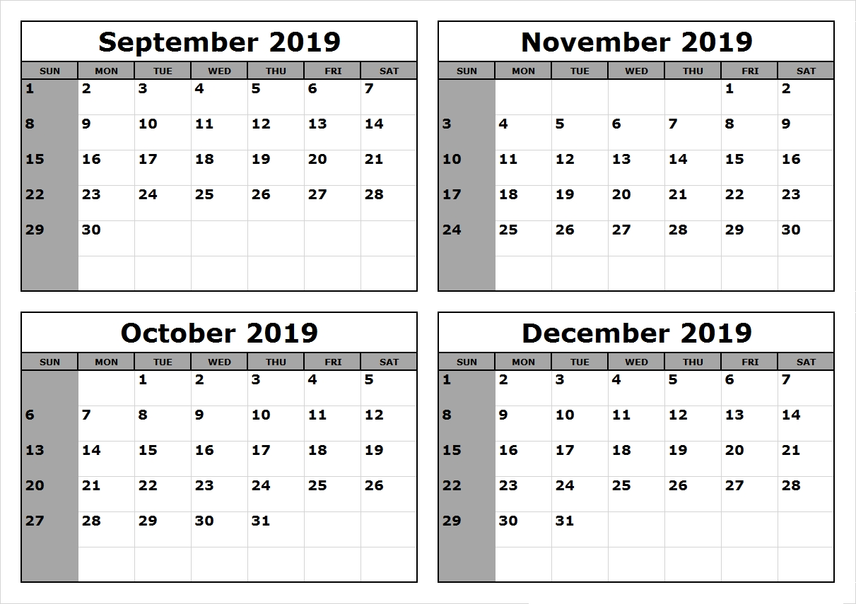 November December 2019 Calendar Download