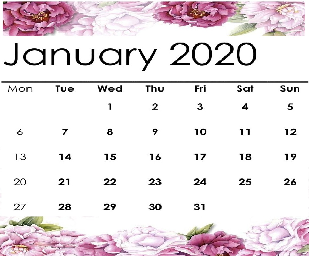 January 2020 Calendar Printable.Free Cute January 2020 Calendar Printable 12 Month