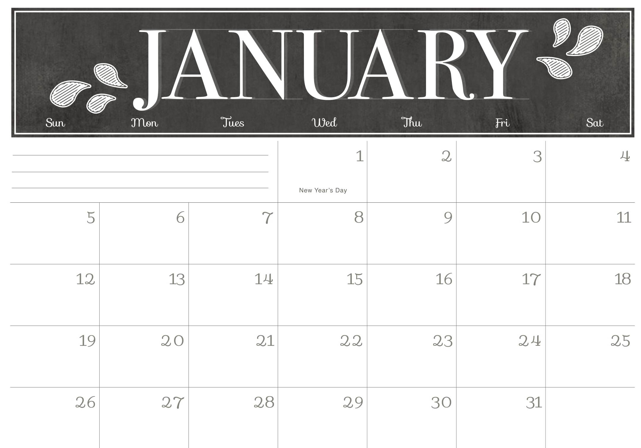 Cute January 2020 Calendar With Notes