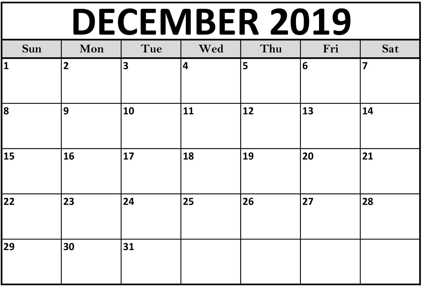 December 2019 Calendar With Holiday