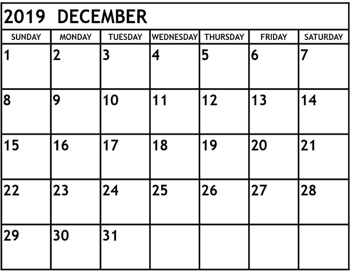 December 2019 Calendar With Holidays Template