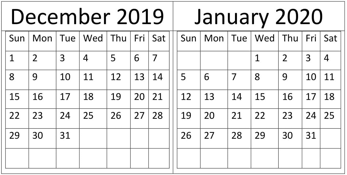 December 2019 and January 2020 Calendar Excel