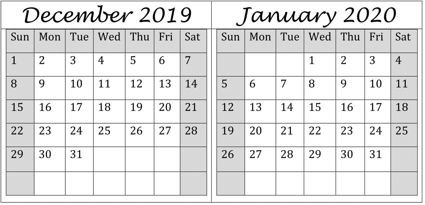 December 2019 and January 2020 Calendar Office Work