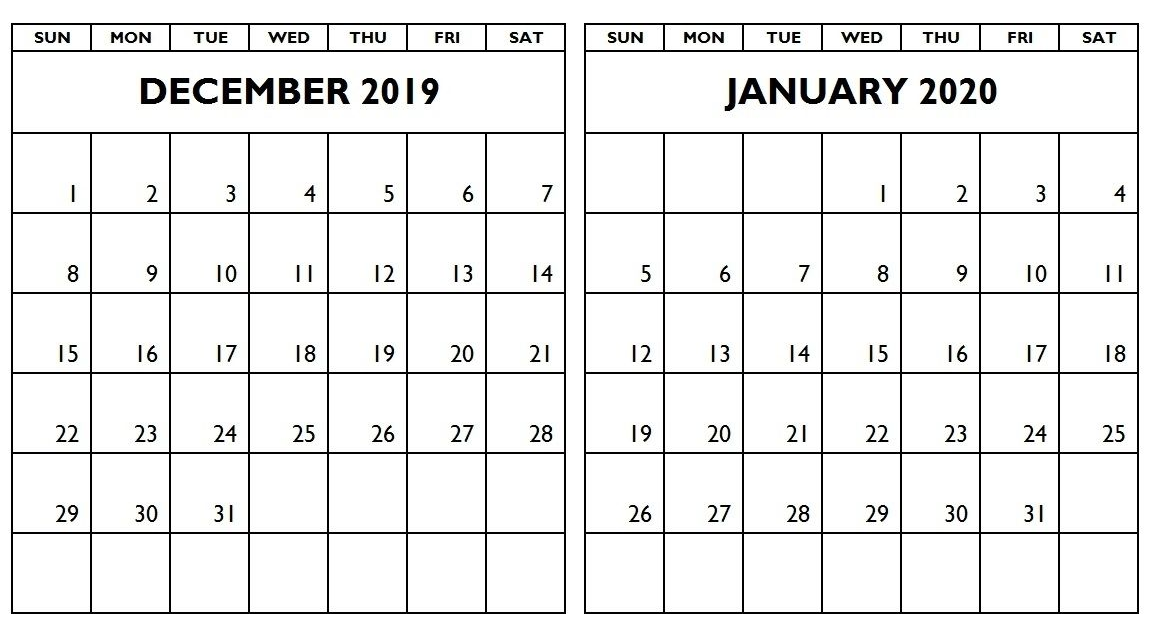 December 2019 and January 2020 Calendar Printable