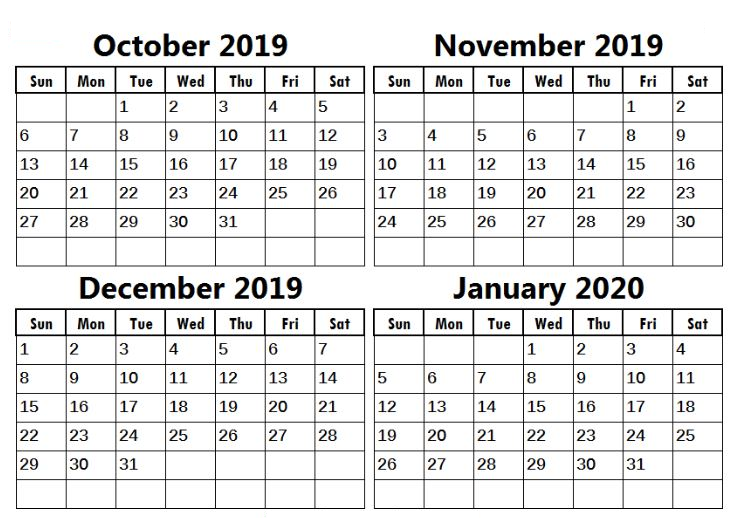 December 2019 and January 2020 Calendar Two Month