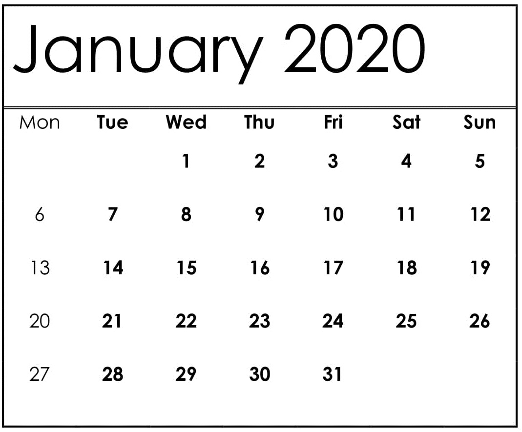 December 2019 and January 2020 Calendar USA
