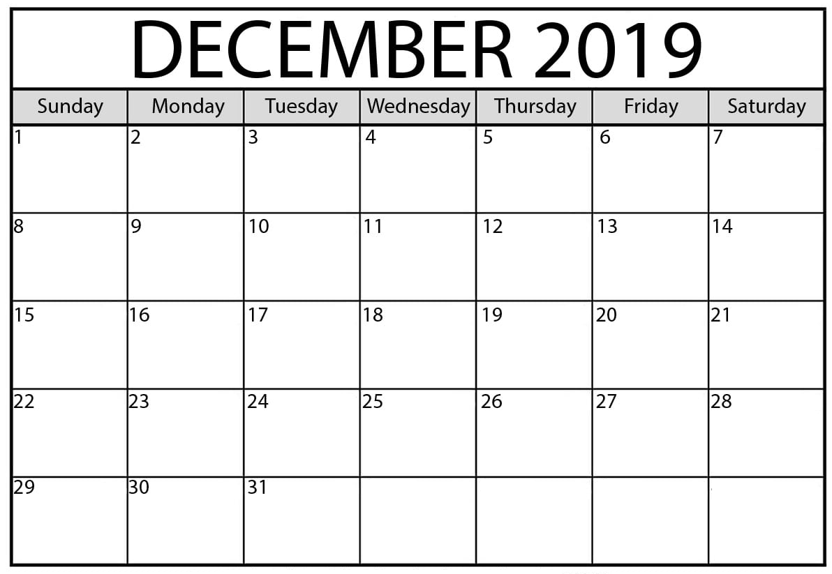 December 2019 Printable Calendar Download