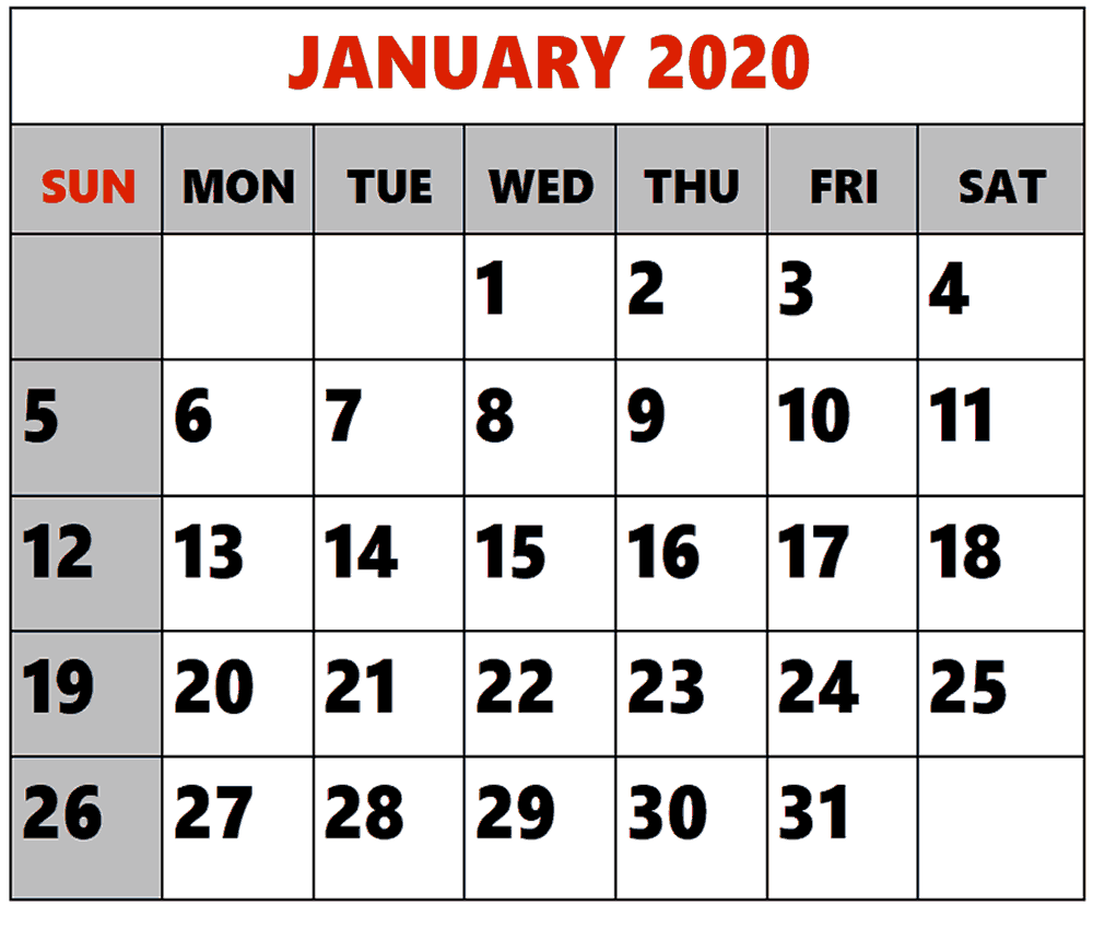 Editable December 2019 and January 2020 Calendar
