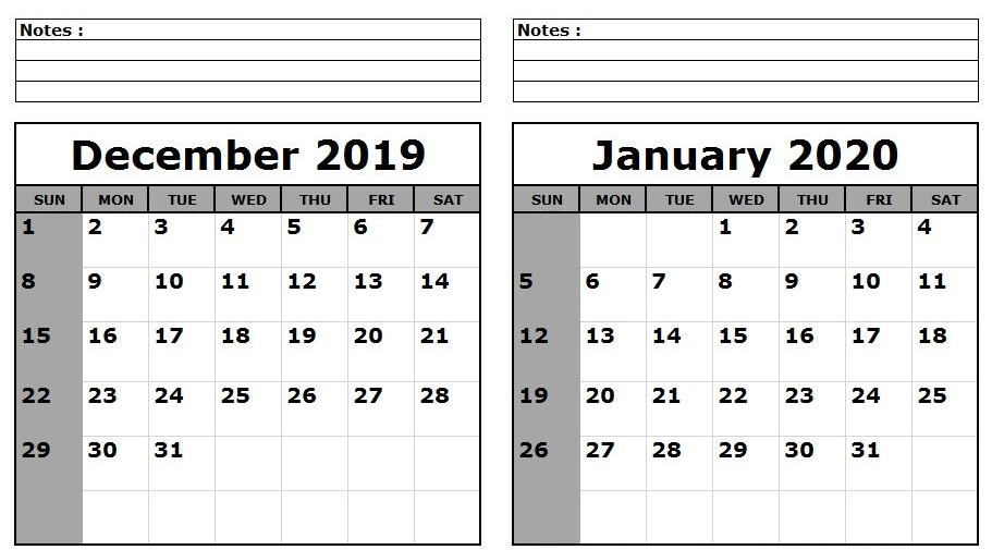 Free December 2019 and January 2020 Calendar