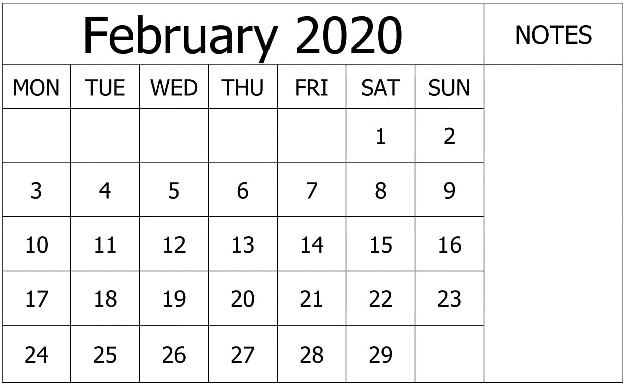 Free Printable February 2020 Customization Calendar