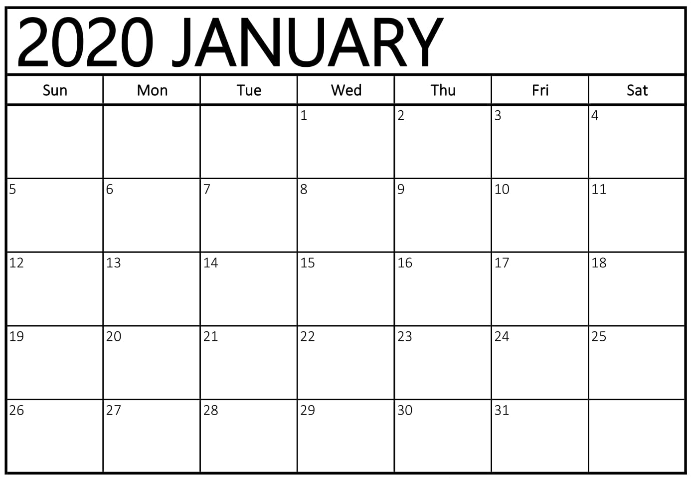 January 2020 Calendar Printable A4 Size Paper