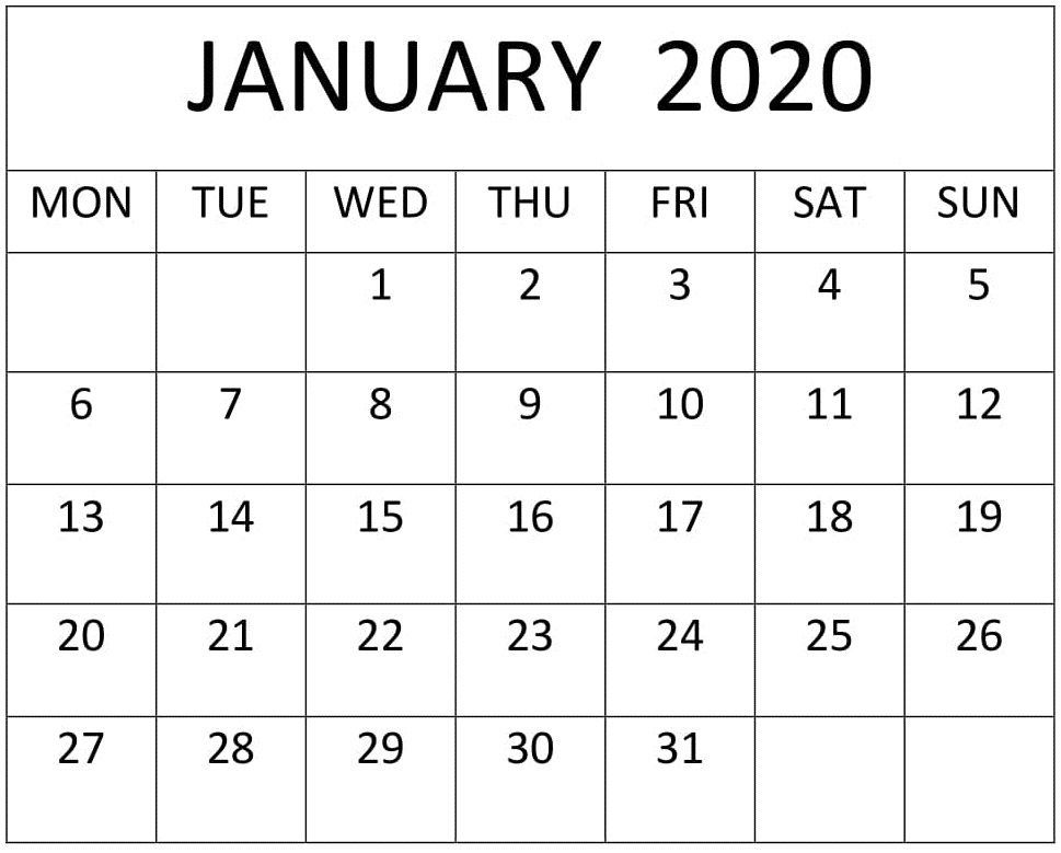 January 2020 Calendar Printable Full Size