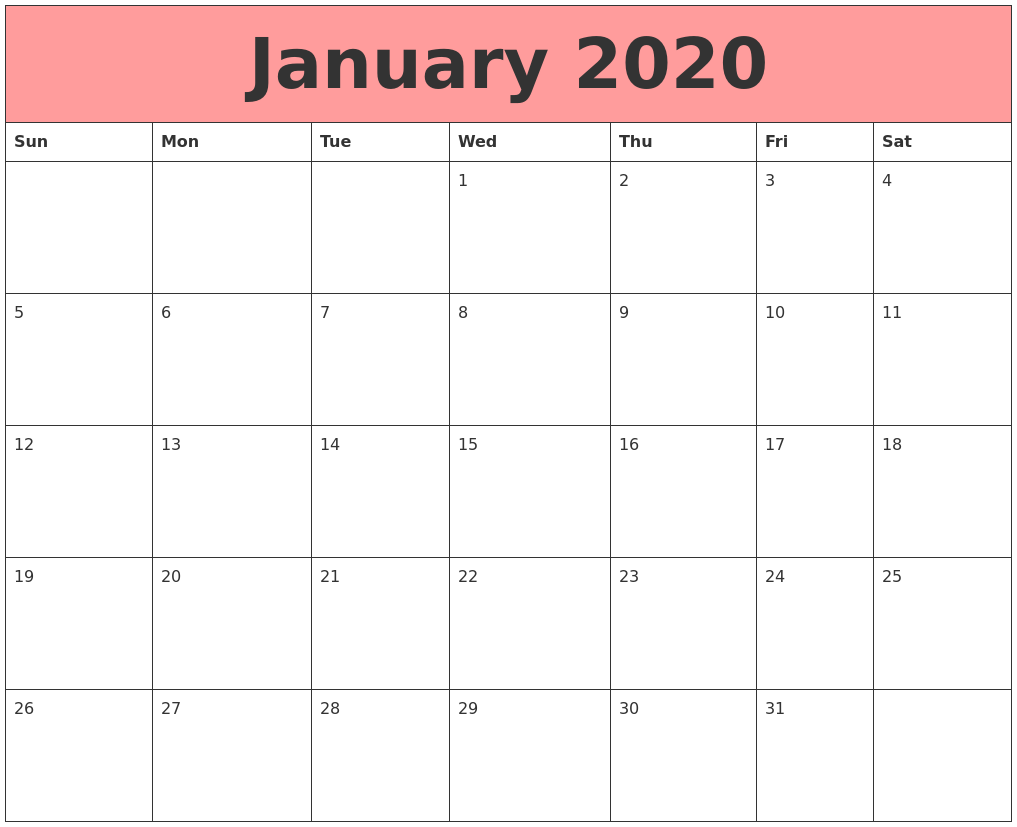 January 2020 Calendar Printable That Work