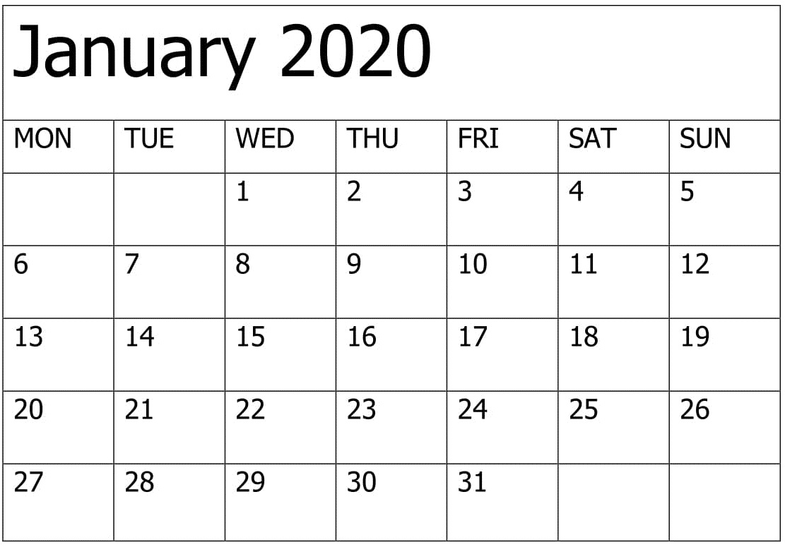 January 2020 Calendar Template Editable