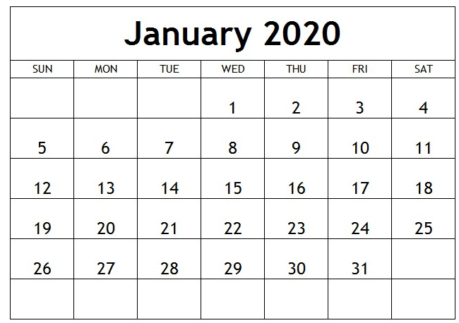 January 2020 Calendar Template Full Page