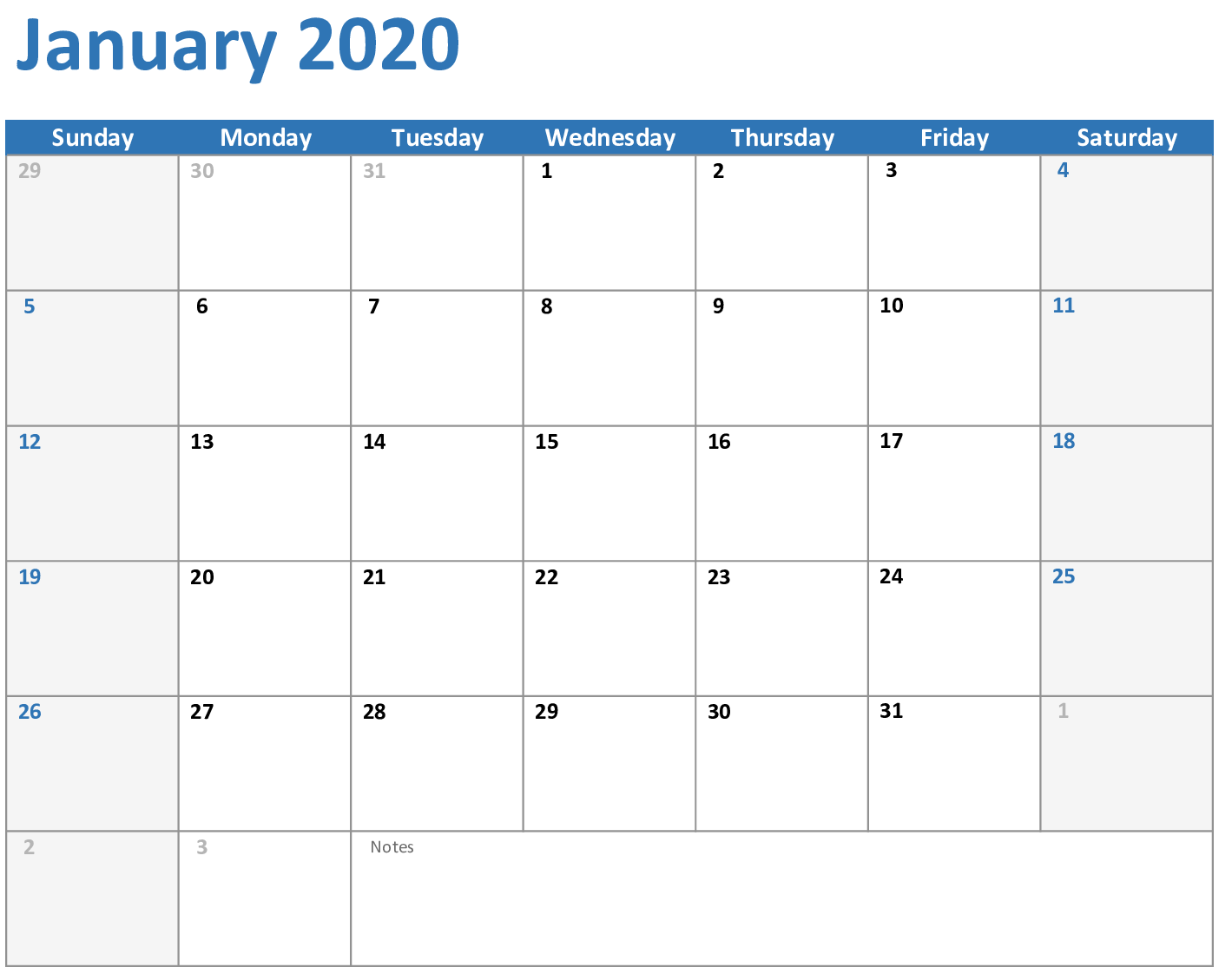 January 2020 Calendar With Holiday