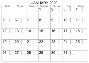 January 2020 Calendar With Holidays Check Boxes