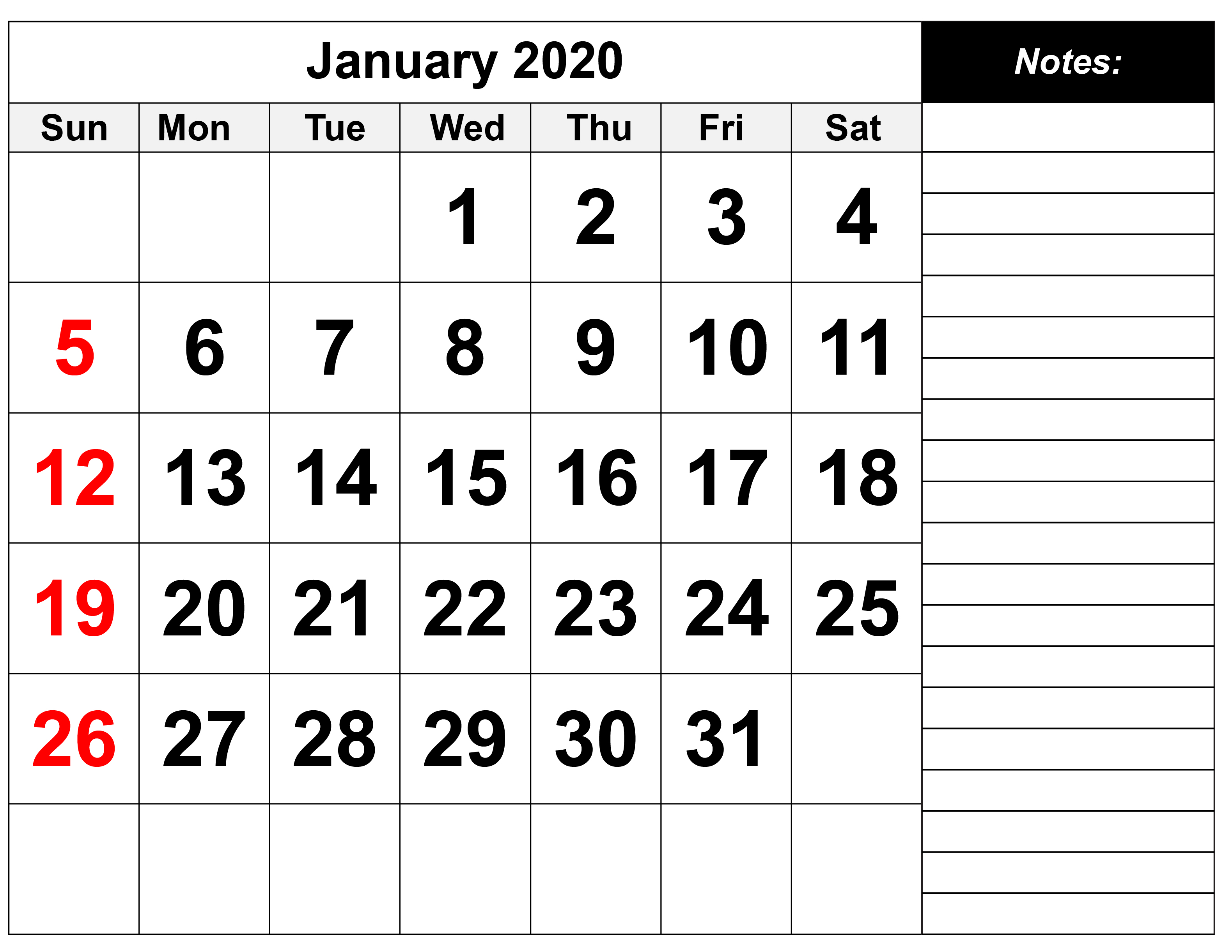 January 2020 Calendar With Holidays USA