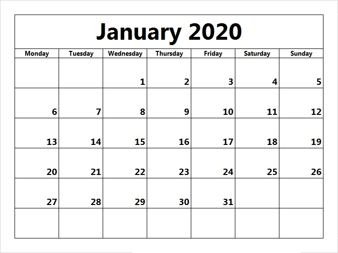 January 2020 Printable Calendar Monthly