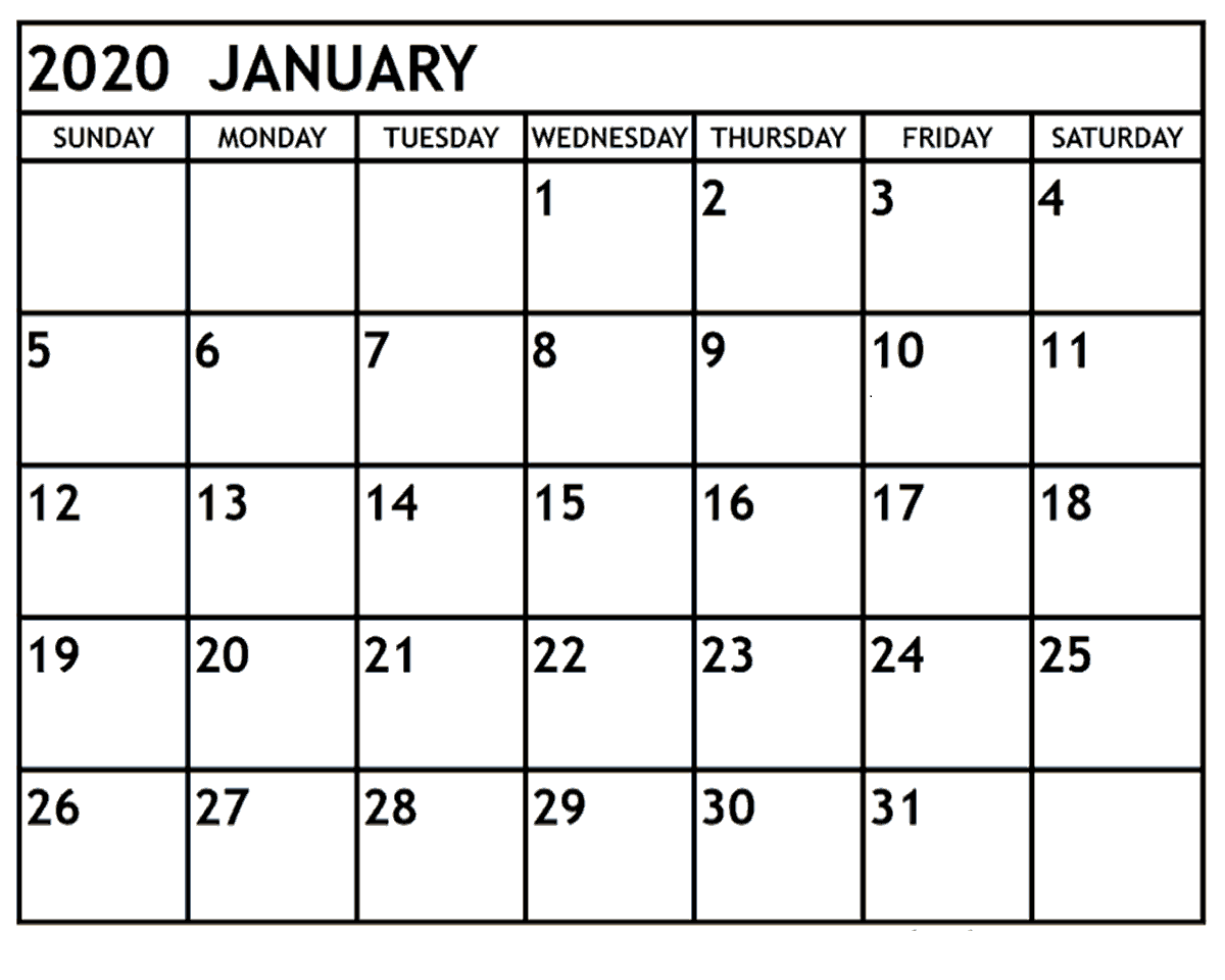 January 2020 Printable Calendar Word