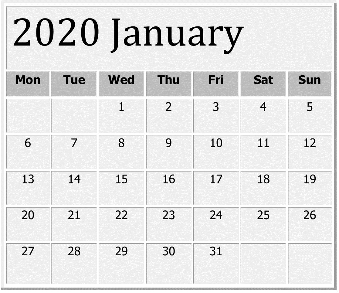 January 2020 Printable Excel Calendar