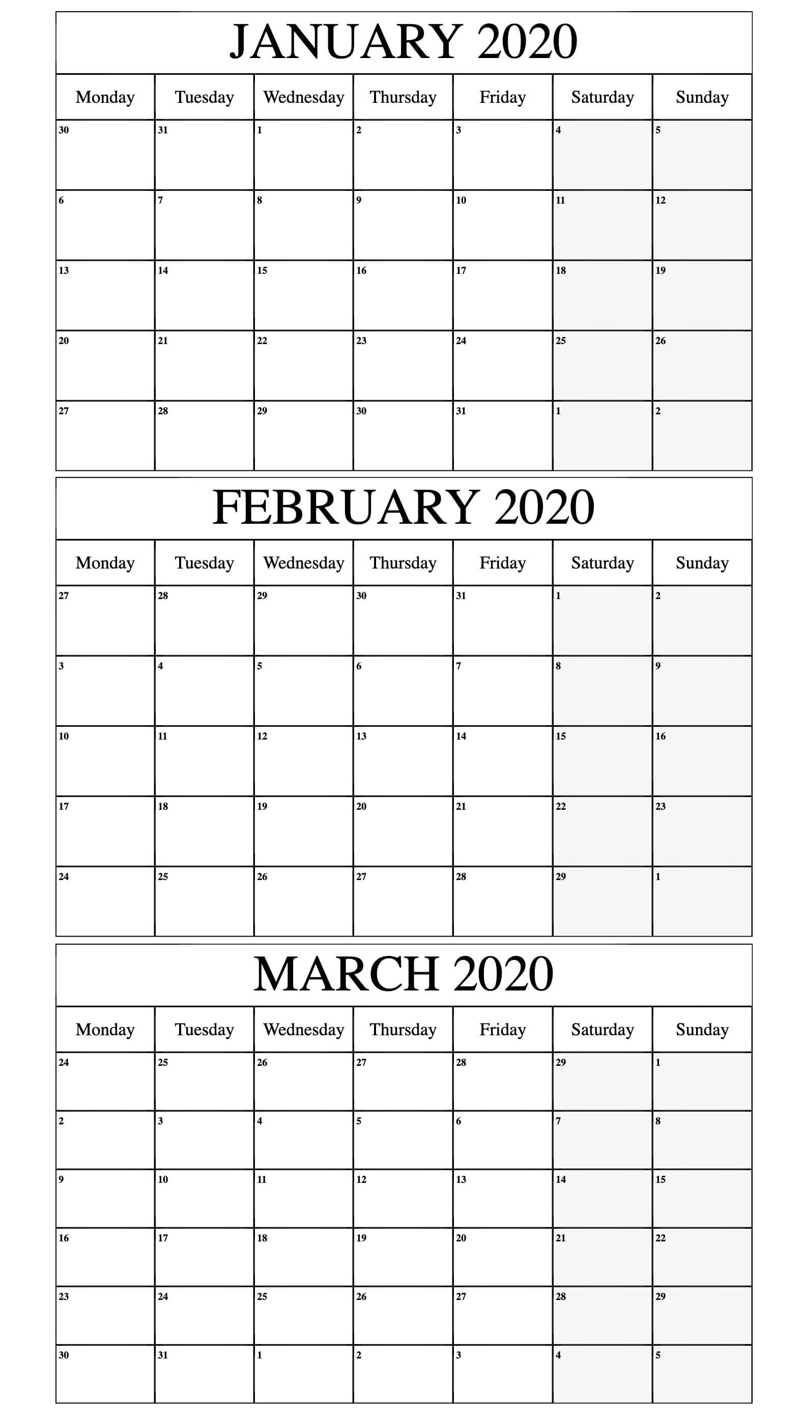 2020 January to March Calendar