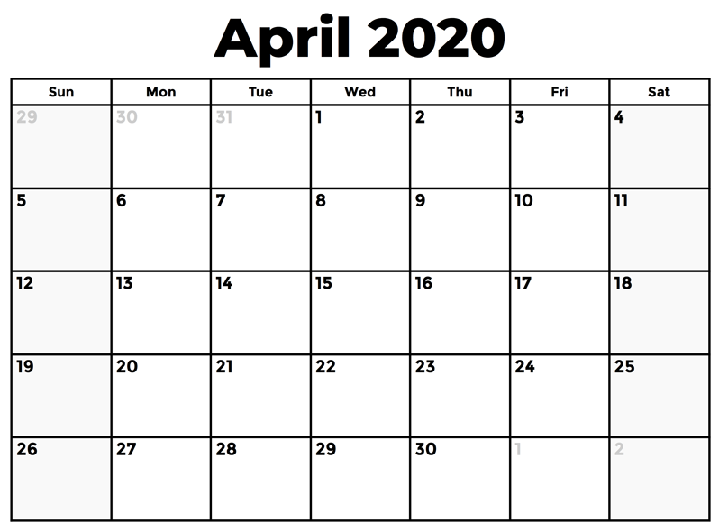 April 2020 Calendar Printable A4 Size
