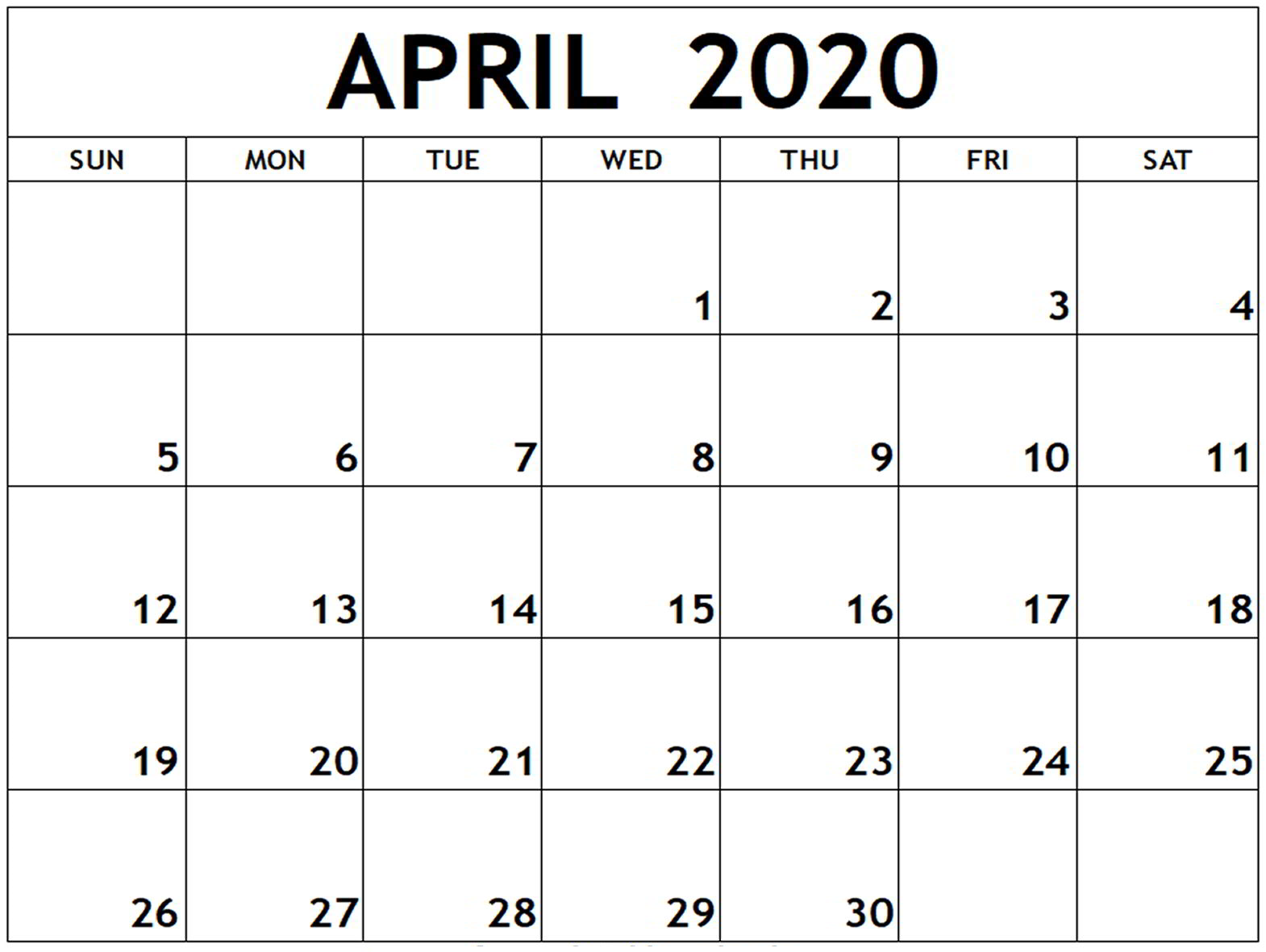 April 2020 Calendar Printable Full Page