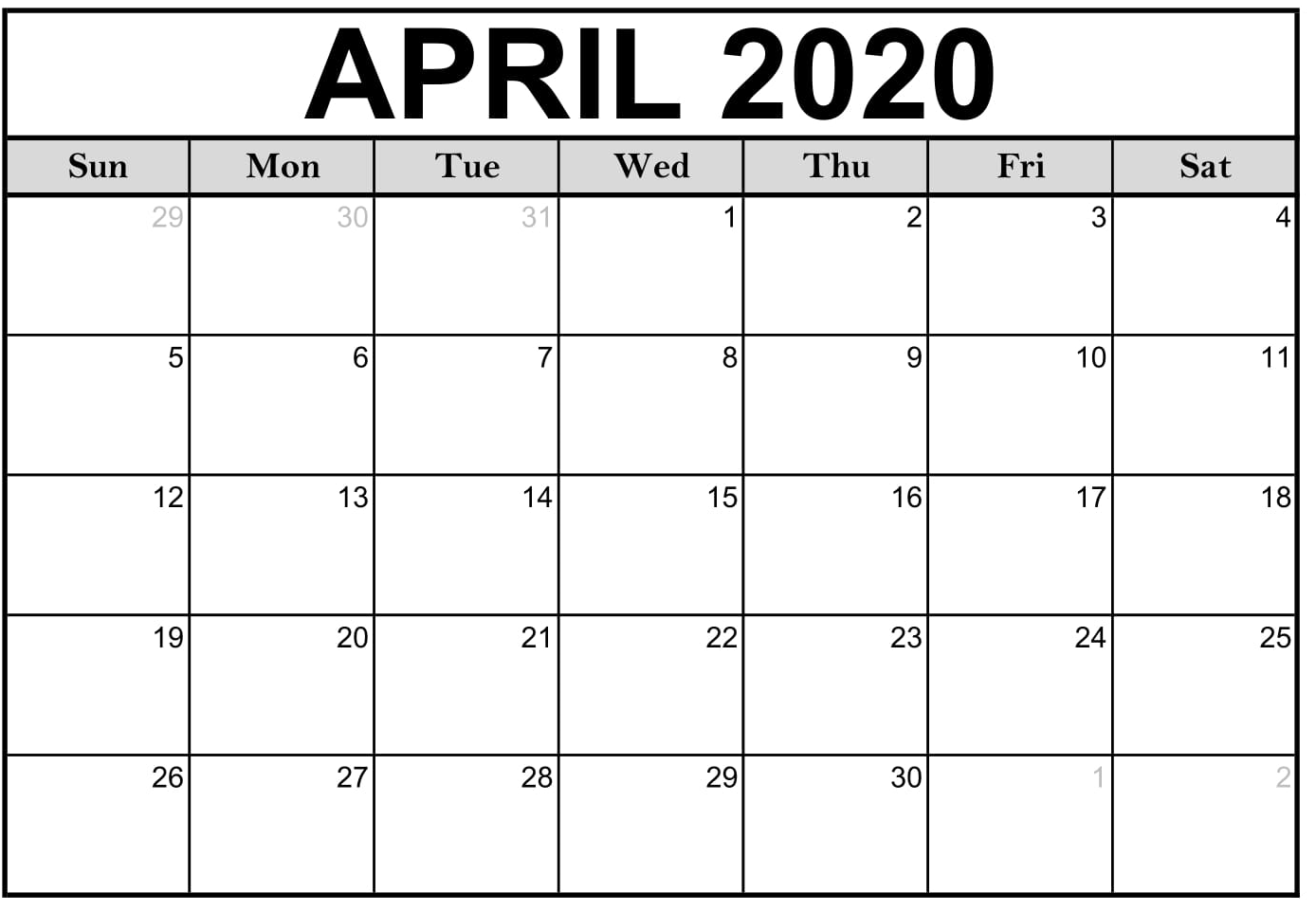 April 2020 Calendar Printable Landscape