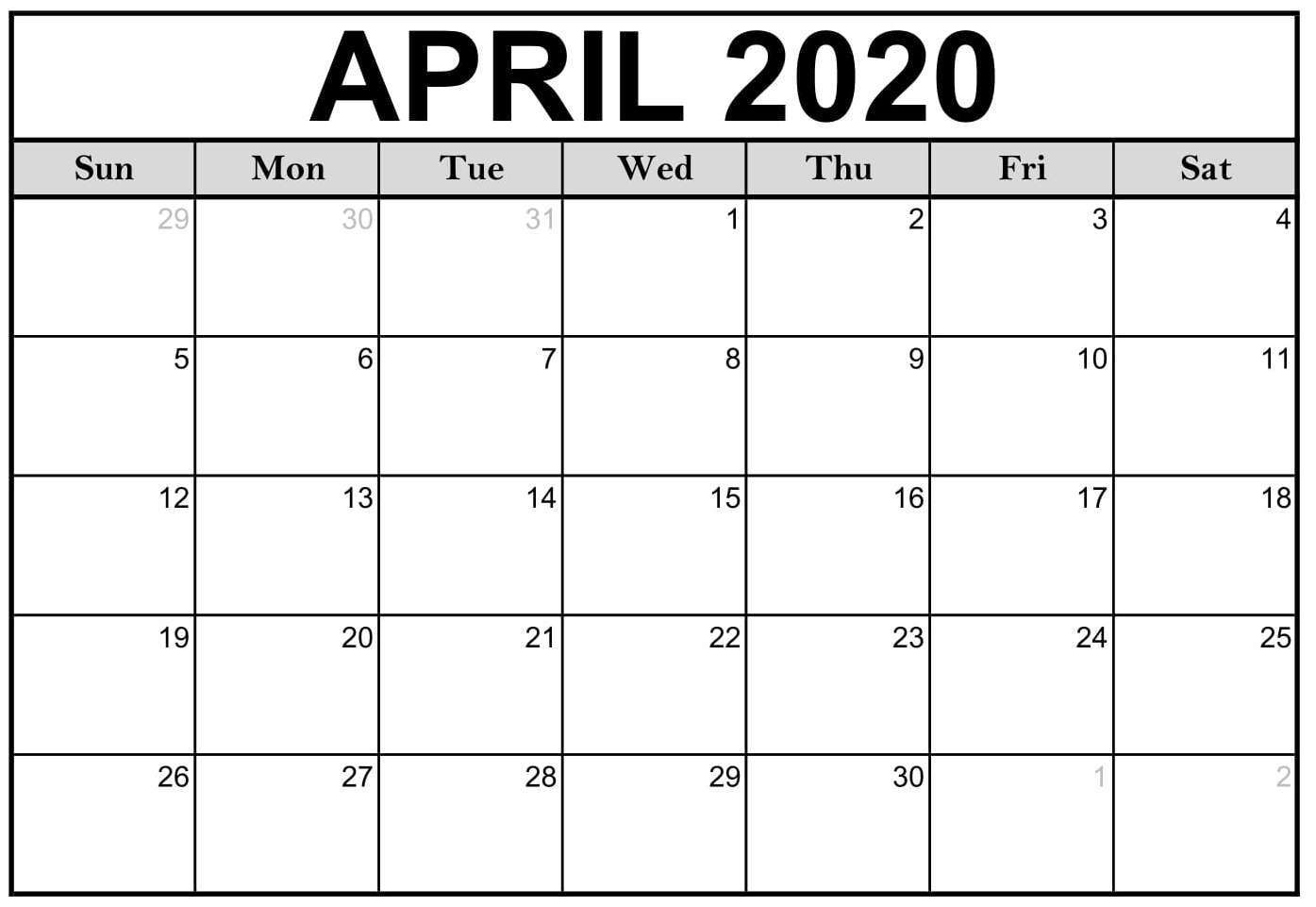 April 2020 Calendar Printable Vertical