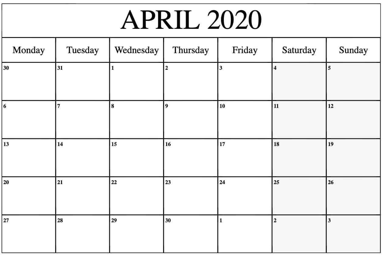April 2020 Calendar Printable Word