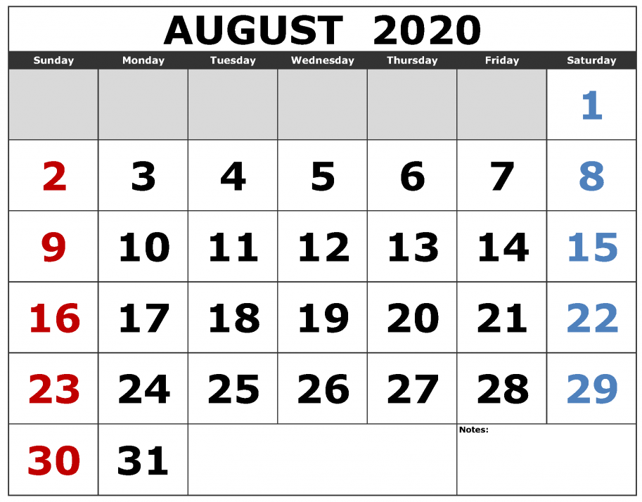 August 2020 Calendar Monthly Font Large