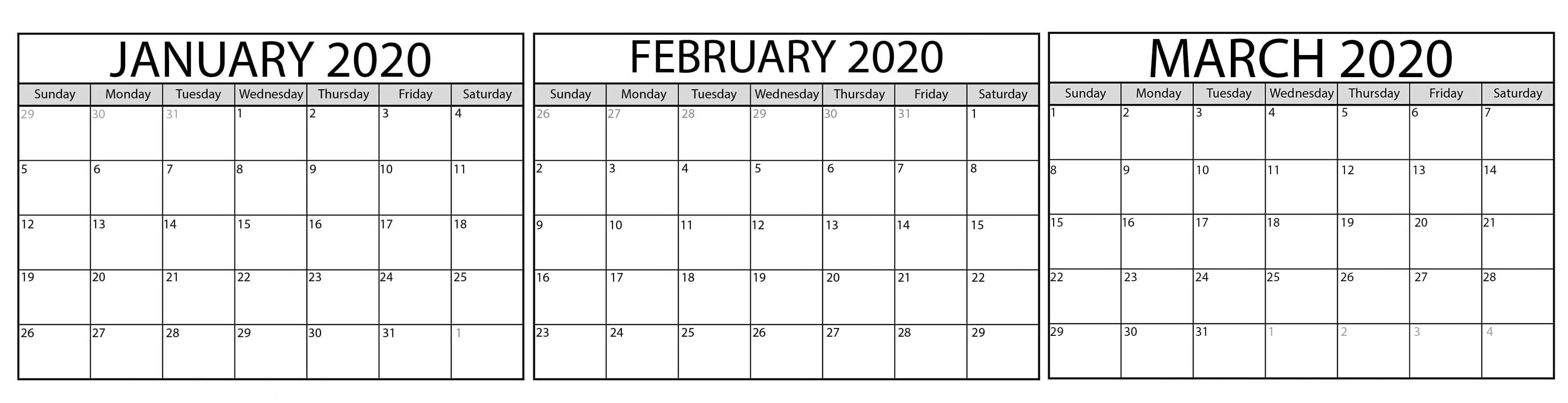 Blank January to March 2020 Calendar
