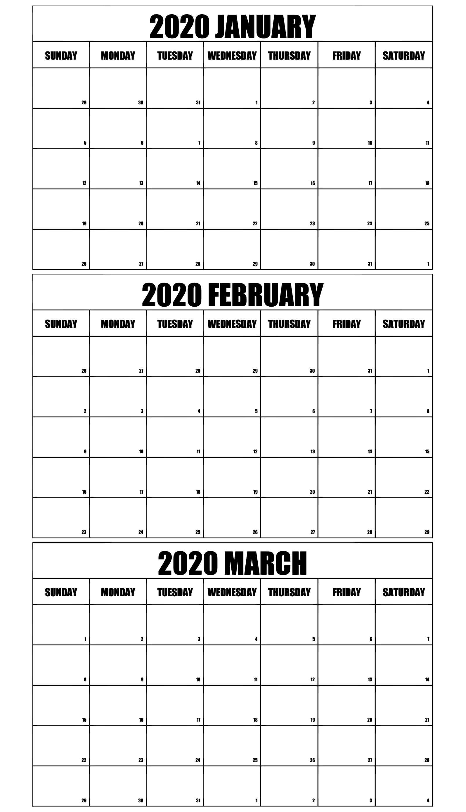 Blank January to March Calendar 2020