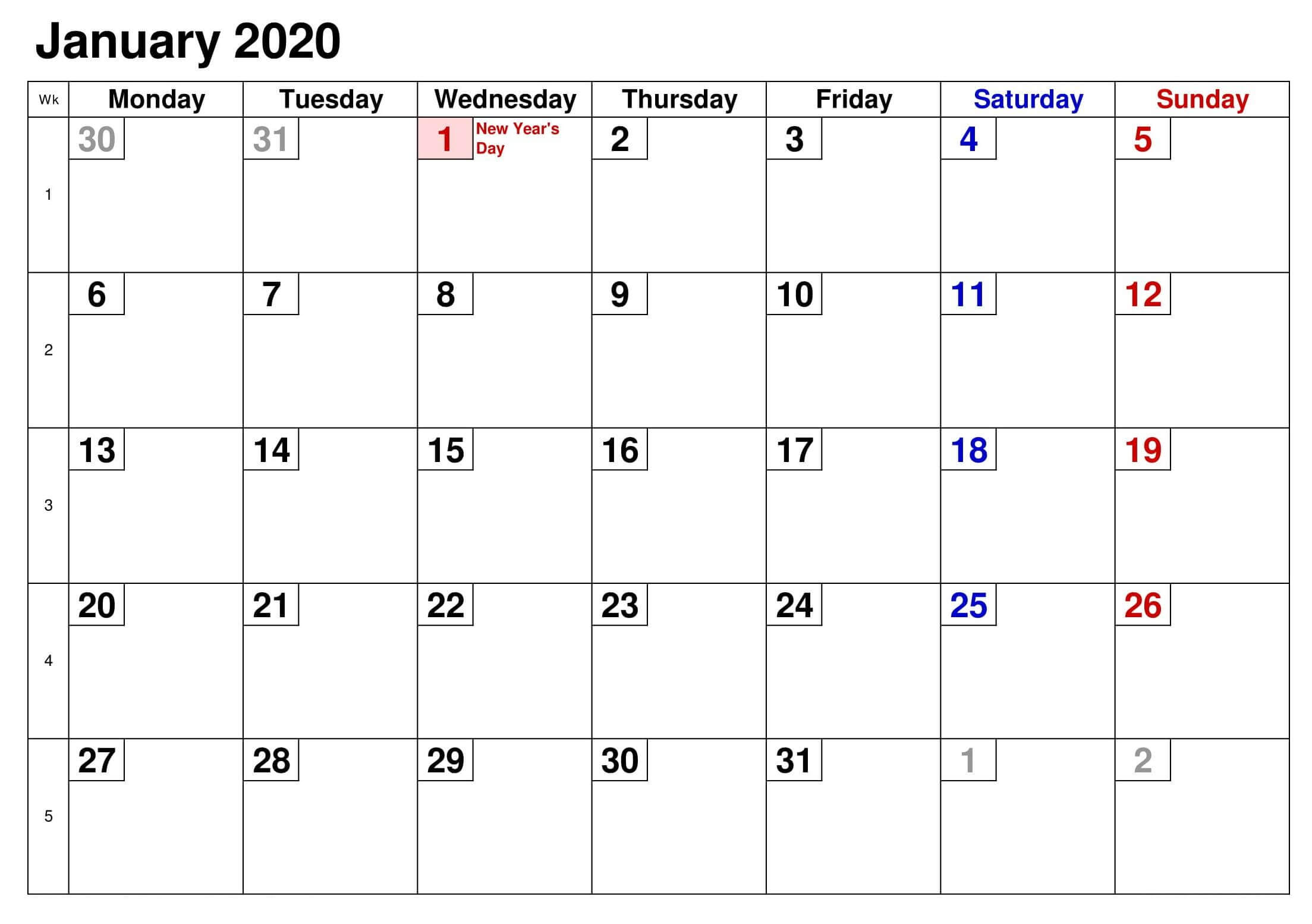 Calendar January 2020 With Holidays US