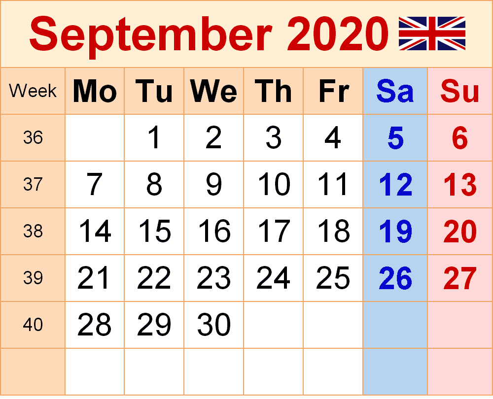 Calendar September 2020 UK Printable