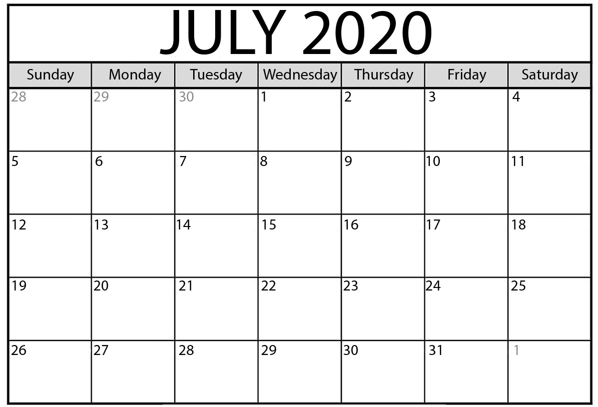 Cute July 2020 Calendar Free Printable
