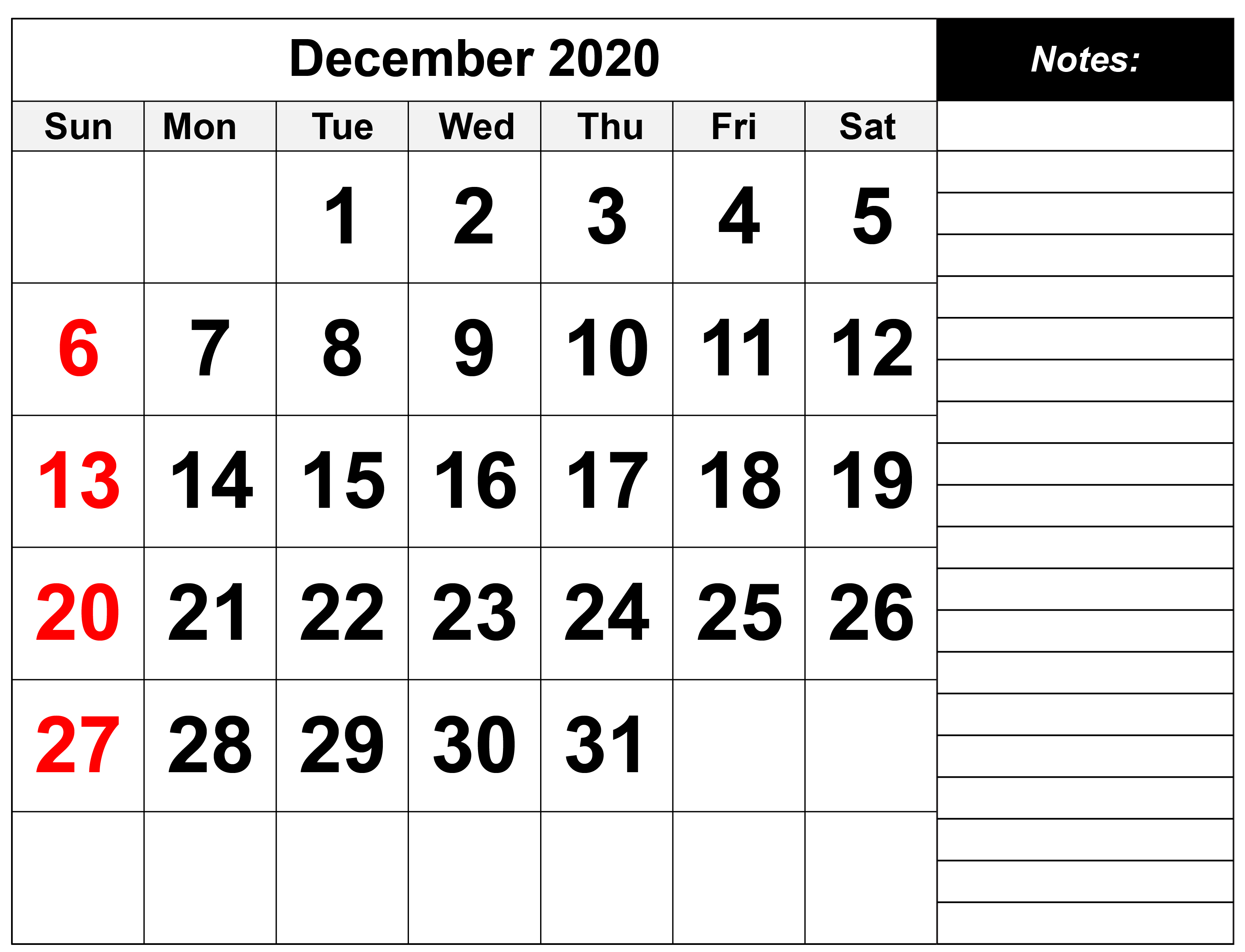 December 2020 Calendar Printable Vertical