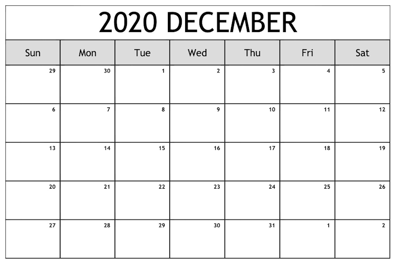 December 2020 Calendar Printable With Holidays