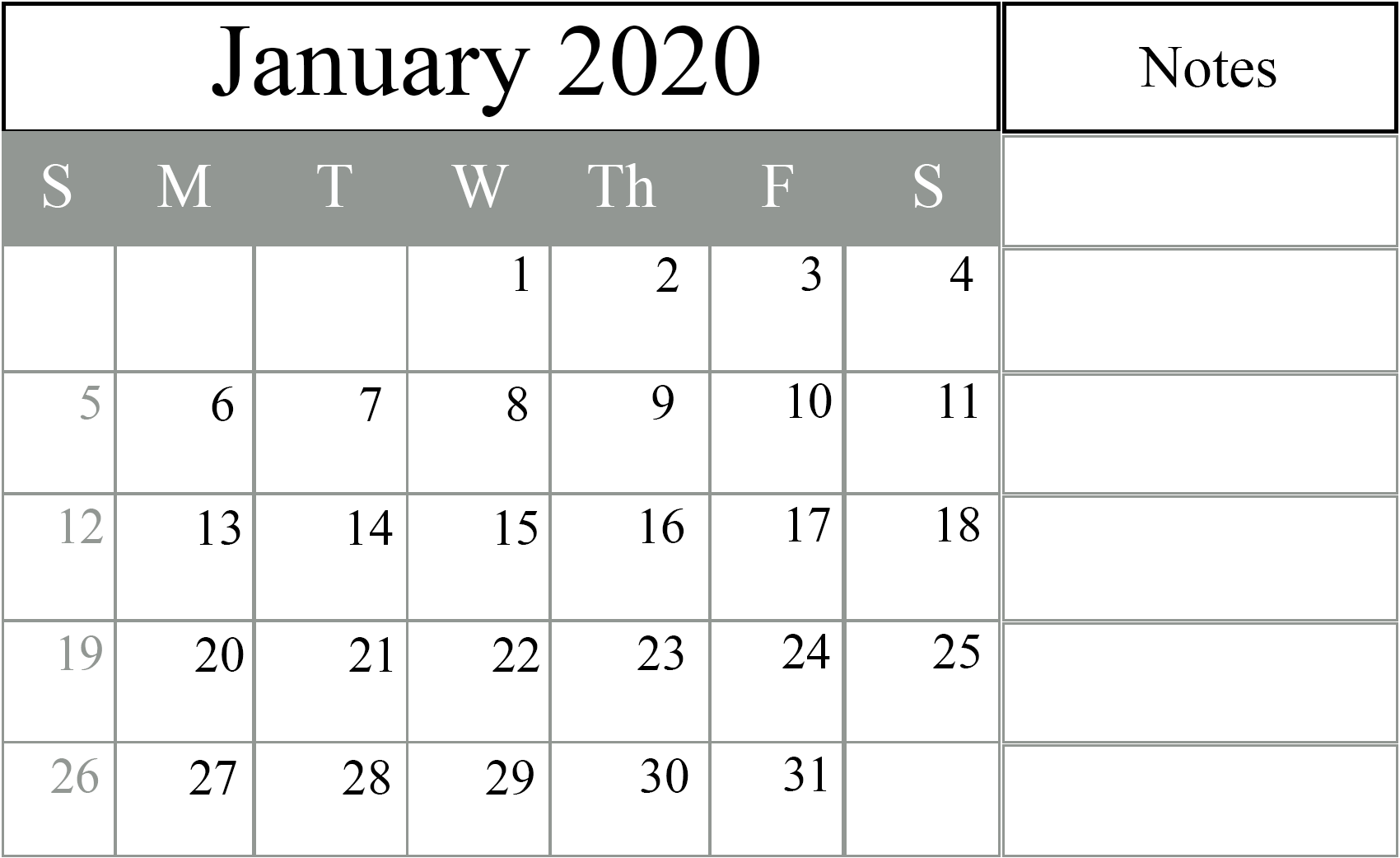 Download January 2020 Calendar Excel