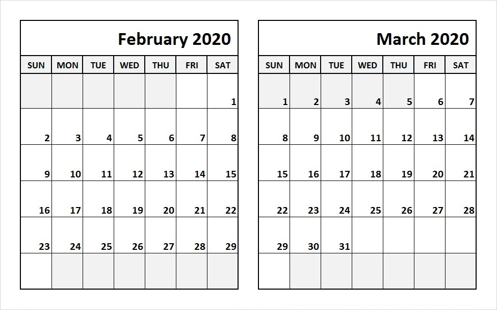 Feb Mar 2020 Calendar Template